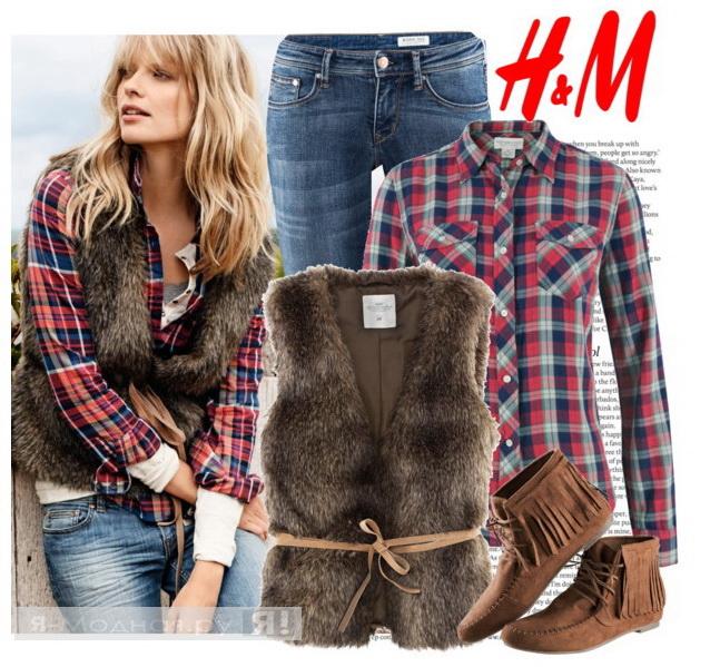 блузка + меховой жилет