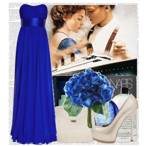 Обувь к синему платью в пол