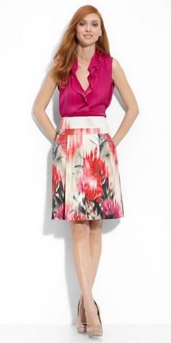 Цветная шелковая юбка