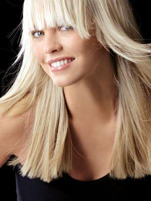 Блондинки с длинными волосами с челкой фото