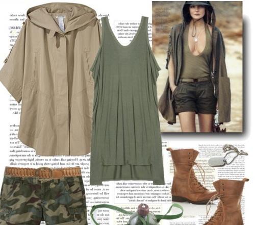 Платье в стиле милитари свободного кроя из трикотажа и пончо...