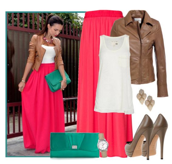 Длинные юбки сочетание цветов