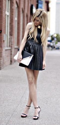 Кожаное платье фото девушки