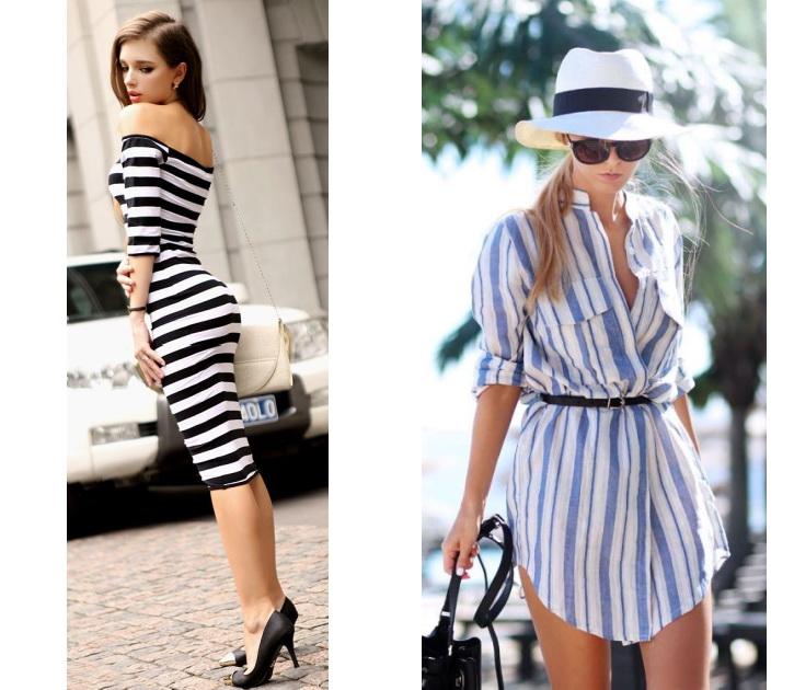 Модные полосатые платья фото