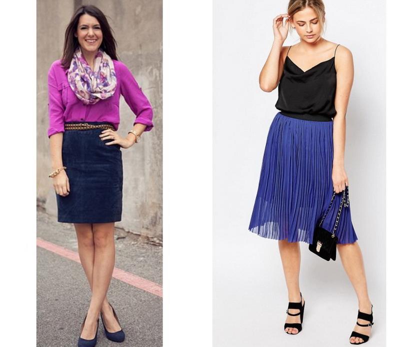 Синяя юбка - как и с чем носить