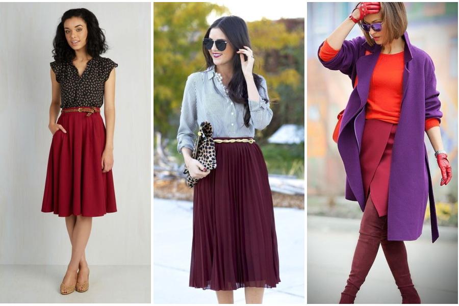 Что носить с бордовой длинной юбкой