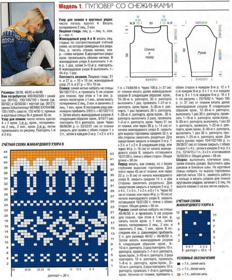 Вязание свитера с норвежским узором