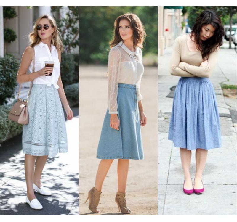С чем носить голубую юбку миди 188