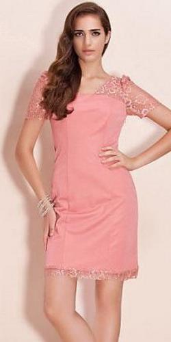 Платье с кружевными рукавами