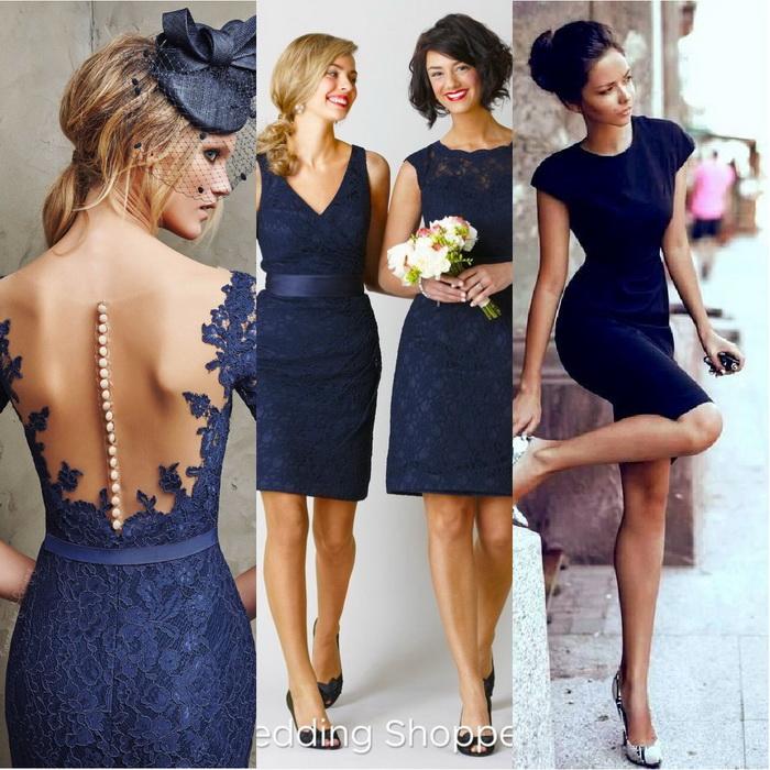Темно синее платье и бежевые туфли