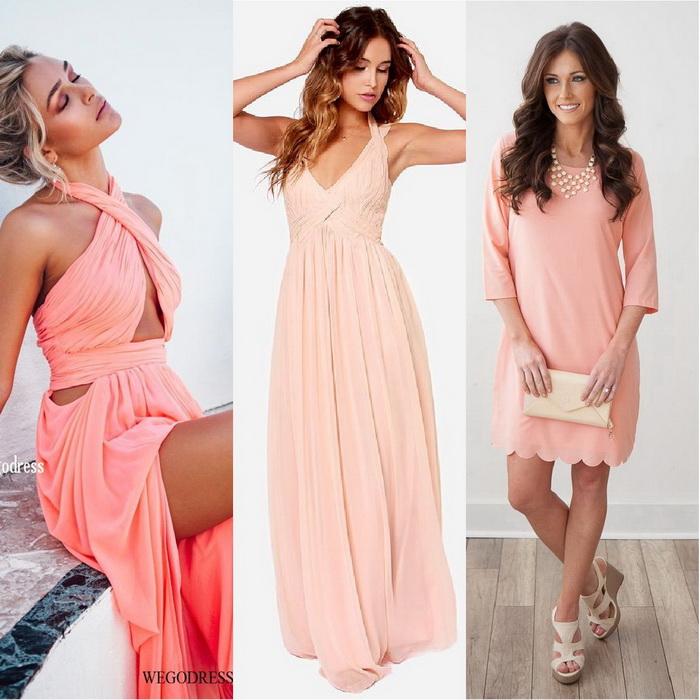 Платья персиковые