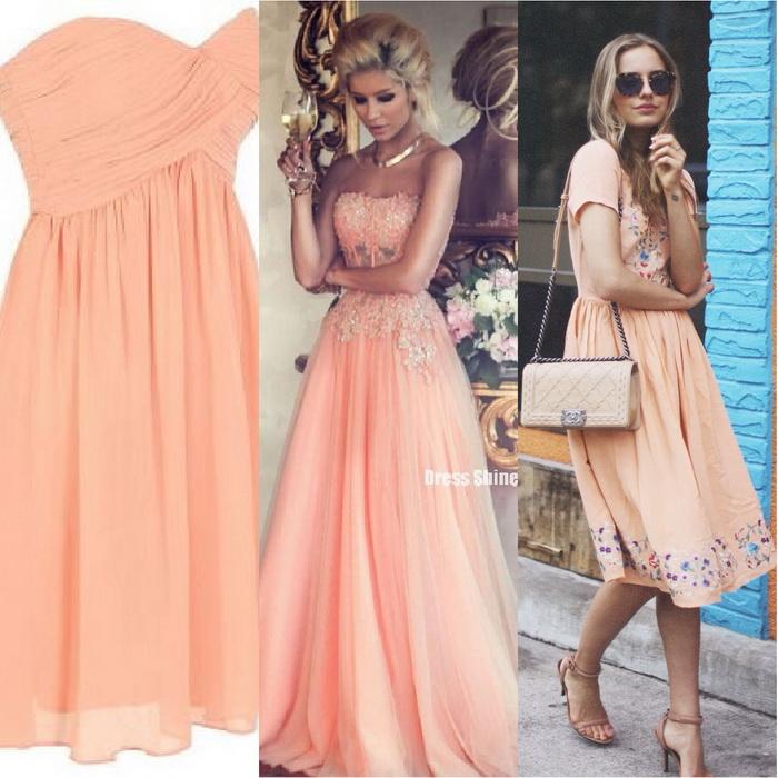 Персиковые платья для девушек