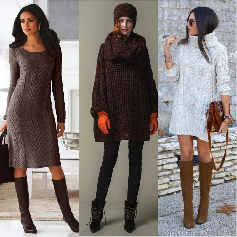 Как носить свитер с платьем