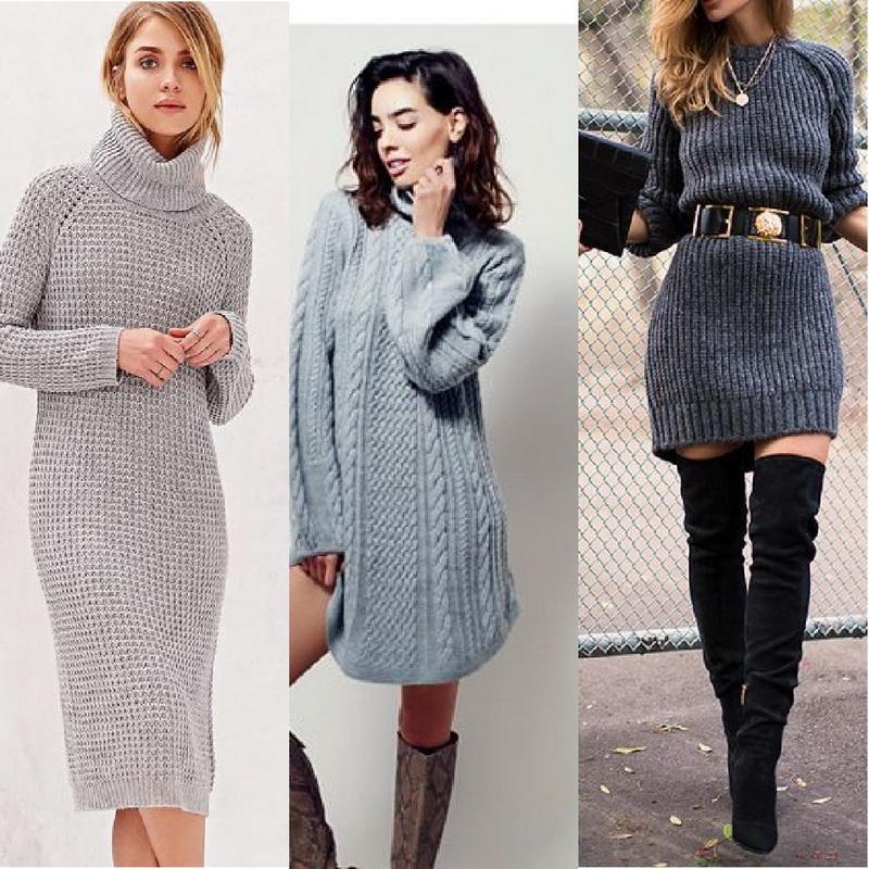 Платье-свитер - 50 фото
