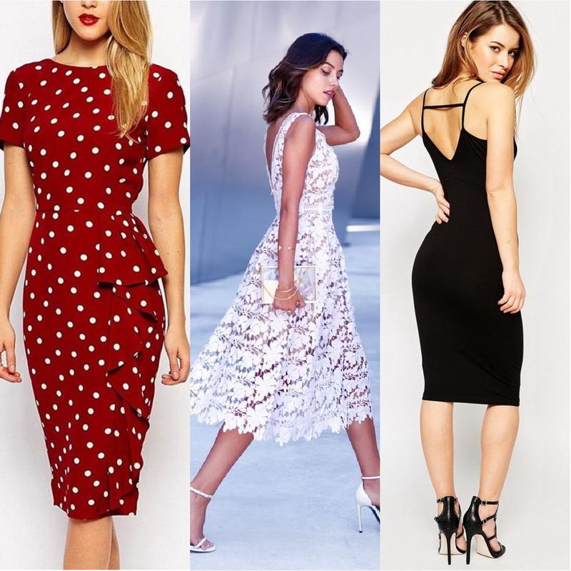 Фото модных платьев миди